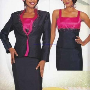 Chancelle Suit 16115 Navy with Fuchsia – Womens Church Suits
