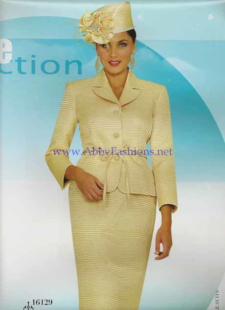 Chancelle Suits 16129 Gold Yellow Womens Church Suits Abby Fashions