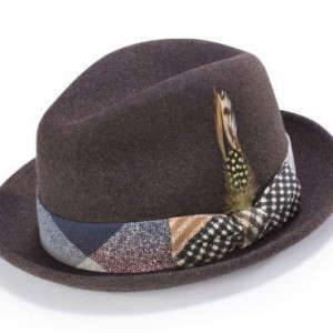 Montique H-1717 Fedora Matching Hat Brown