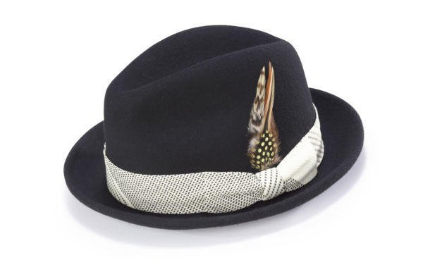 montique-h-1753 fedora matching-hat-black-cream