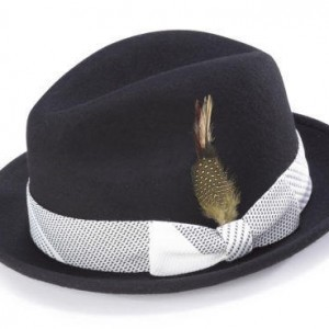 Montique H-1753 Fedora Matching Hat Black-White