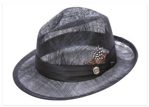 Montique H-23 Mens Sinamay Pinch Fedora Hat Black - Abby Fashions 4a2aabe645a