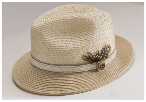 f7524997026 Montique H-31 Mens Straw Fedora Hat Tan - Abby Fashions