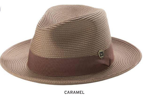 e73795e85d0 Montique H-42 Mens Straw Fedora Hat Caramel - Abby Fashions