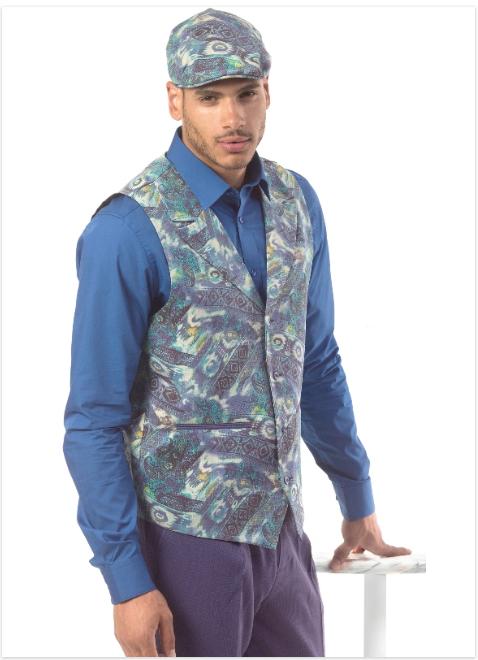 Montique Mens Vest Set V 119 Navy Purple, Abby Fashions