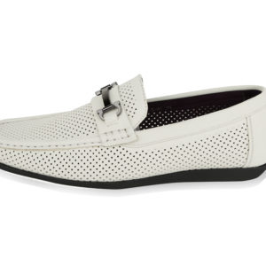Montique S-45 Men's Metal Bit Perforated Casual Loafers Off-White