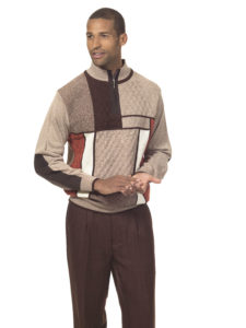 Montique 1707 mens sweater sets dark brown
