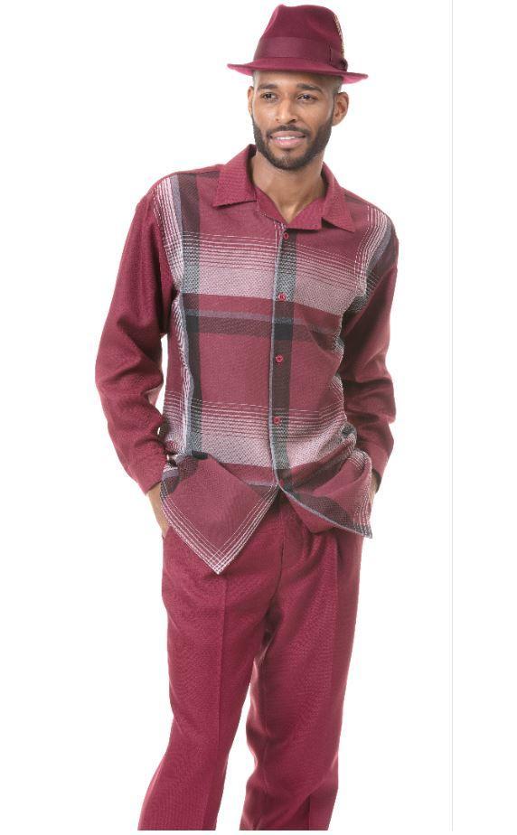 Montique 1824 Mens Walking Suit Black White Long Sleeve Mens Leisure Suits Burgundy, Abby Fashions