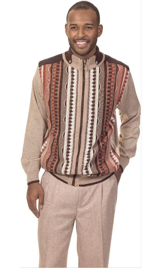 Montique 1711 Mens Sweater Sets Dressy Mens Two Piece Sweater Set Beige, Abby Fashions