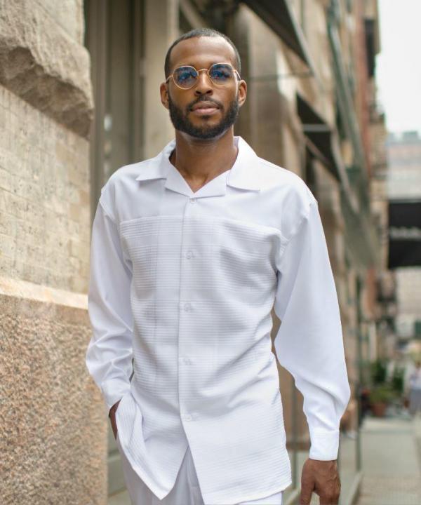 Montique 1804 Mens Walking Suit Black White Long Sleeve Mens Leisure Suits White 600x720, Abby Fashions