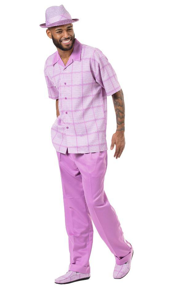 Montique 1901 Walking Suit Larvender Mens Leisure Suits Short Sleeve, Abby Fashions