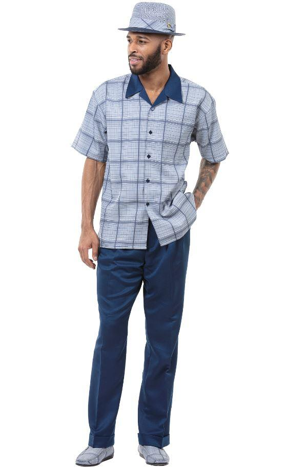 Montique 1901 Walking Suit Navy Mens Leisure Suits Short Sleeve, Abby Fashions
