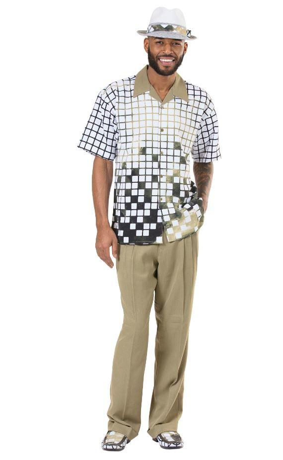 Montique 1914 Walking Suit Olive Mens Leisure Suits Short Sleeve, Abby Fashions
