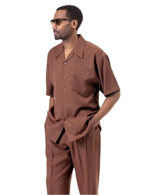 Montique 696 Walking Suit Cinnamon Mens Leisure Suits Short Sleeve 600x801, Abby Fashions