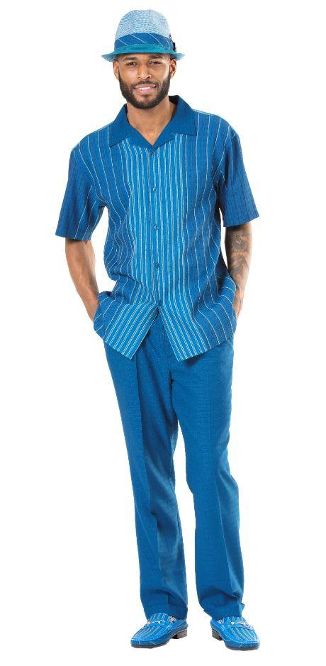 Montique 1946 Mens Walking Suits Teal Mens Leisure Suits Short Sleeve, Abby Fashions