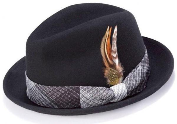 Montique H 1724 Mens Fedora Matching Hat Black 600x422, Abby Fashions