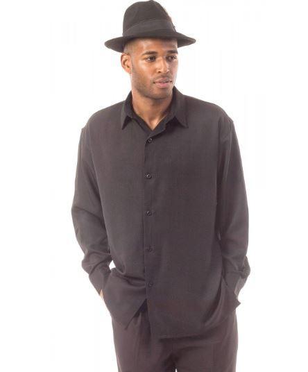 Montique Men Walking Suits 1131 Black Long Sleeve, Abby Fashions