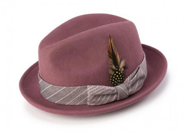 Montique H 1963 Mens Fedora Matching Hat Mauve 600x436, Abby Fashions