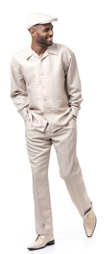 Montique Walking Suits 1916 Beige Mens 2pc Leisure Suits, Abby Fashions