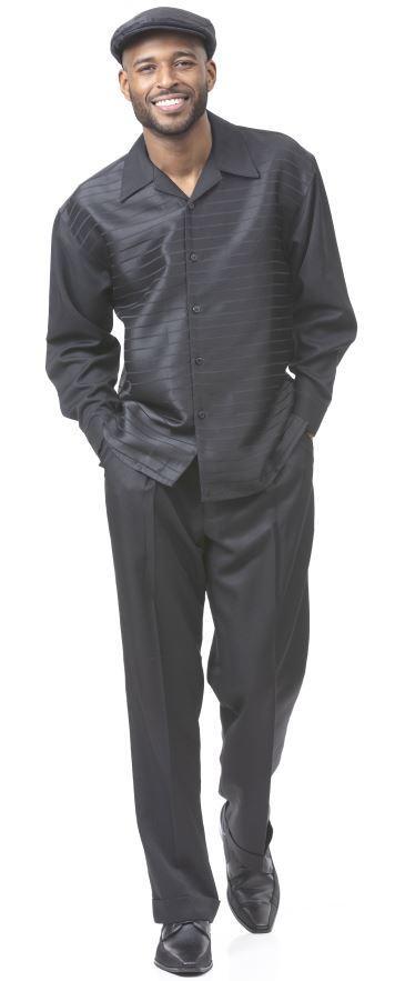 Montique Walking Suits 1916 Black Mens 2pc Leisure Suits, Abby Fashions
