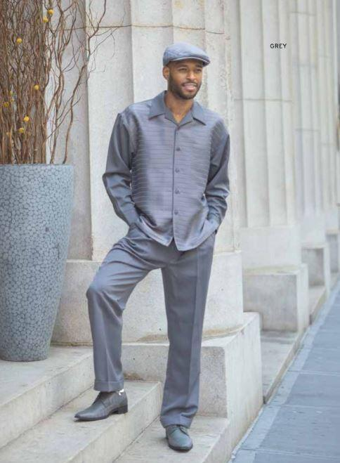 Montique Walking Suits 1916 Grey Mens 2pc Leisure Suits, Abby Fashions