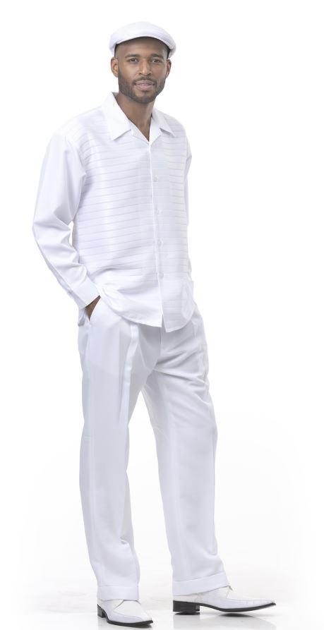 Montique Walking Suits 1916 White Mens 2pc Leisure Suits, Abby Fashions