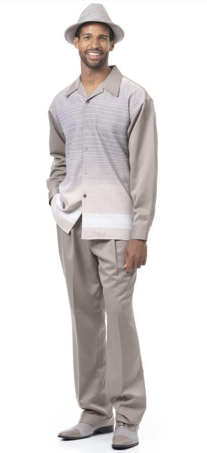 Montique Walking Suits 1963 Khaki Mens 2pc Leisure Suits, Abby Fashions