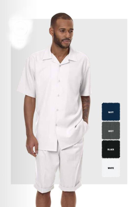 Montique 7696 Mens Walking Suit White Leisure Suits Short Sets 1, Abby Fashions
