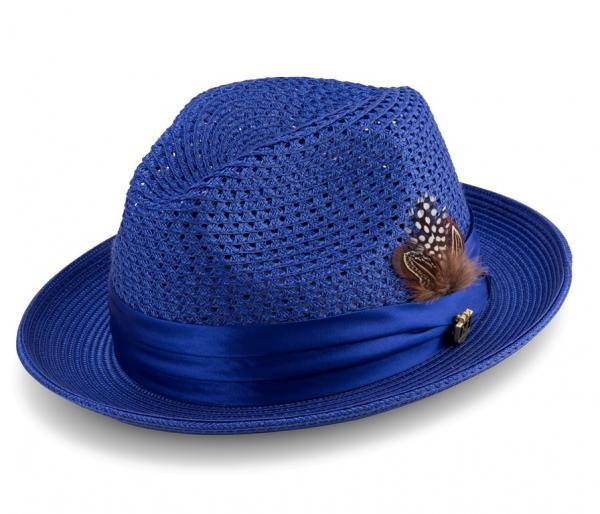 montique h-34 mens straw fedora hat royal