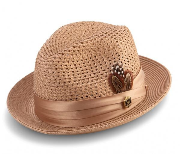 montique h-34 mens straw fedora hat tan