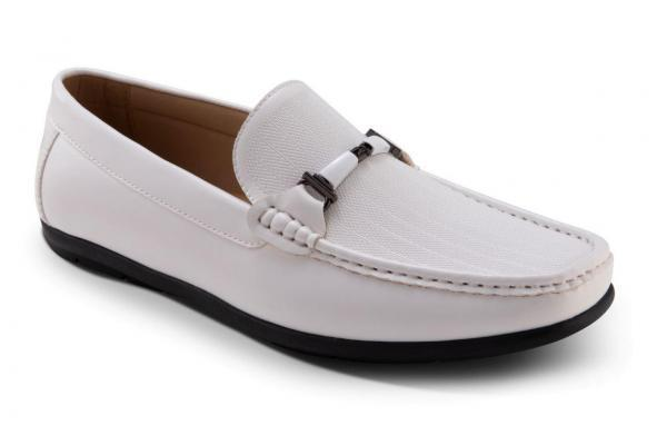 Montique S-26 Mens Penny Loafers with Bit White
