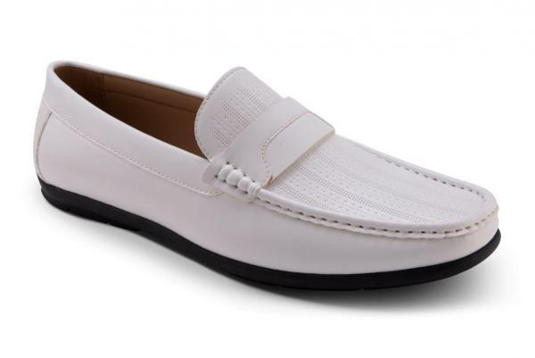 Montique S-80 Mens Penny Loafers with Bit White