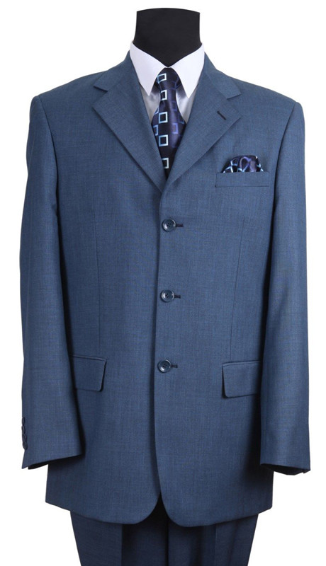 Blue Luxurious Melange Wool Feel-3 Button-Mens Church Suit