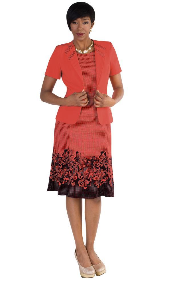 Madame 9450 Cn Womens Church Suits Coral With Navy Ladies Church Dresses 600x985, Abby Fashions