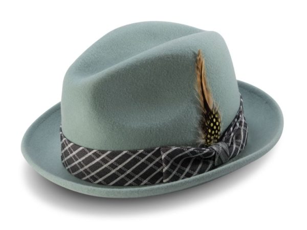 Montique H 2006 Mens Matching Hat Green Fedora Wool Felt Hat 600x450, Abby Fashions
