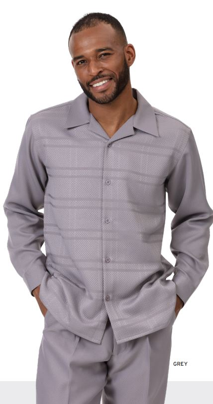 Montique Mens Walking Suits 2001 Grey Tone On Tone Solid Long Sleeve Mens 2pc Leisure Suits, Abby Fashions