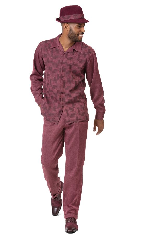 Montique Mens Walking Suits 2002 Burgundy Long Sleeve Mens 2pc Leisure Suits, Abby Fashions