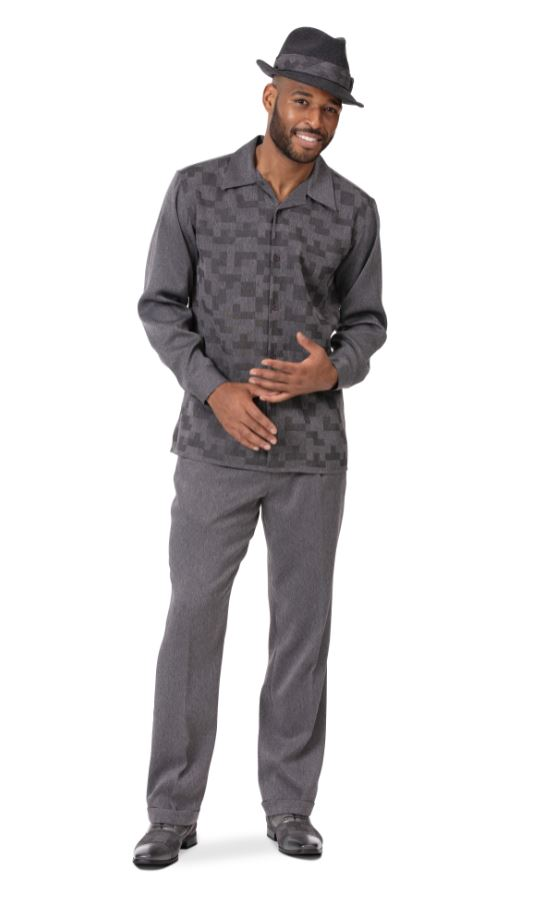 Montique Mens Walking Suits 2002 Charcoal Long Sleeve Mens 2pc Leisure Suits, Abby Fashions