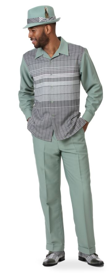 Montique Mens Walking Suits 2006 Green Mens 2pc Leisure Suits, Abby Fashions