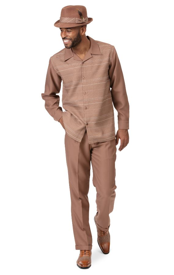 Montique Mens Walking Suits 2014 Beige Mens 2pc Leisure Suits, Abby Fashions