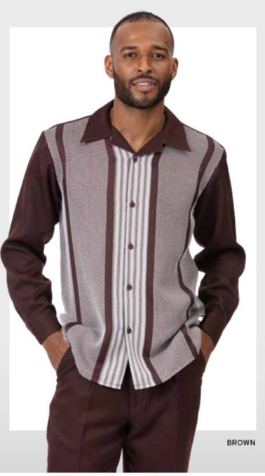 Montique Walking Suits 2060 Brown Long Sleeve Mens 2pc Leisure Suits, Abby Fashions
