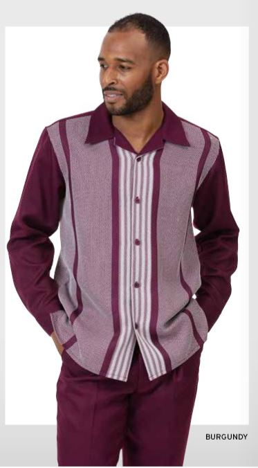 Montique Walking Suits 2060 Burgundy Long Sleeve Mens 2pc Leisure Suits, Abby Fashions