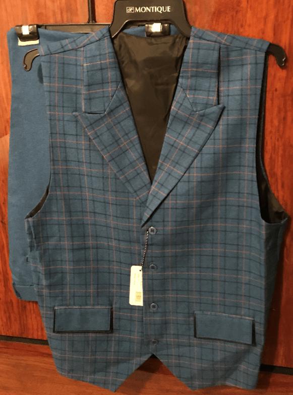 Monologue By Montique Mens Vest Sets V 07 Blue Vest 2, Abby Fashions