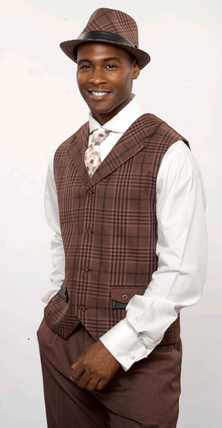 Monologue By Montique Mens Vest Sets V 217 Brown, Abby Fashions