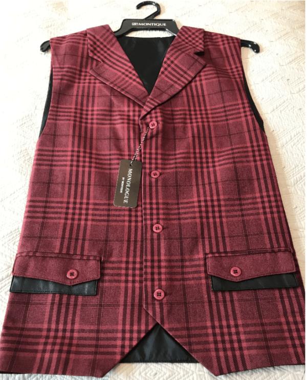 Monologue By Montique Mens Vest Sets V 217 Cranberry Vest 600x744, Abby Fashions