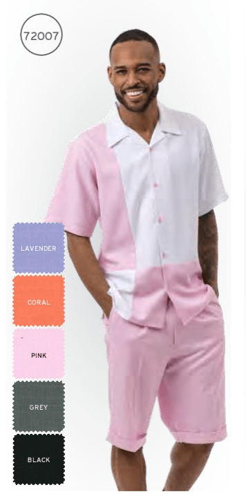 Montique 72007 Mens Walking Suits Pink Mens Leisure Suits Short Sets All, Abby Fashions