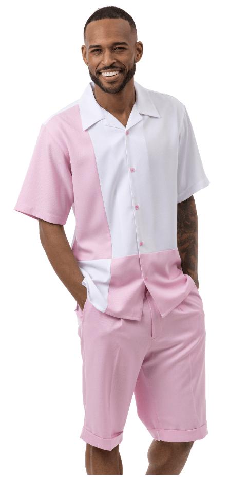 Montique 72007 Mens Walking Suits Pink Mens Leisure Suits Short Sets, Abby Fashions