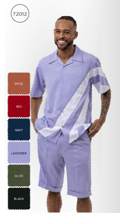 Montique 72012 Mens Walking Suits Lavender Mens Leisure Suits Short Sets All, Abby Fashions