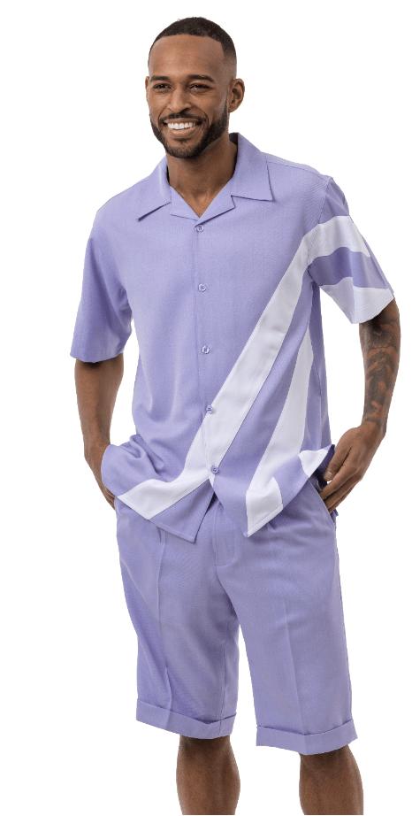 Montique 72012 Mens Walking Suits Lavender Mens Leisure Suits Short Sets, Abby Fashions