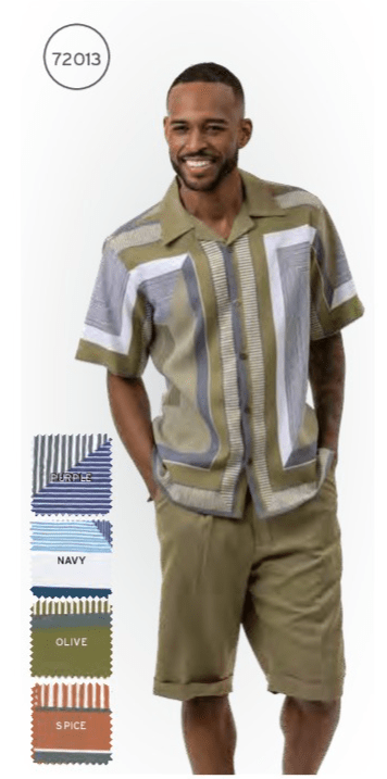 Montique 72013 Mens Walking Suits Olive Mens Leisure Suits Short Sets All, Abby Fashions